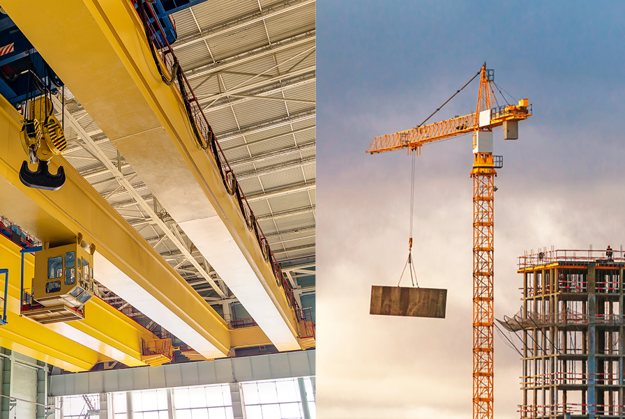 Two different kinds of cranes. One indoor and one outdoor